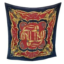 """Echo Women's Equestrian Print Scarf Navy Saddle Bridle 33"""" Square"""