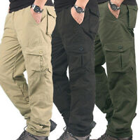 Men Work Cargo Winter Warm Pants Tactical Thermals Pants Pocket Thick Trousers