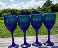 SET OF 4~COBALT BLUE 10 OZ WINE GLASSES/COCKTAIL STEMWARE UNBRANDED  EXCELLENT!