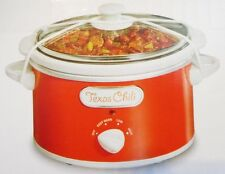 PROCTOR SILEX RED & WHITE 1.5 Qt. SLOW COOKER Removeable Pot Glass Lid 3 Heat