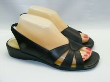 Auditions Women's Size 9.5 A A Narrow Black Leather Slingback Sandals Wedge Shoe