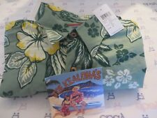 JOE KEALOHA'S REYN SPOONER Shirt Hibiscus Jade  MEDIUM NWT Long Sleeve