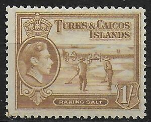Turks and Caicos Islands 1938 KGVI 1/- Yellow-Bistre - MLH