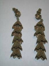 Vintage Miriam Haskell Russian Gold Bell Drop Earrings