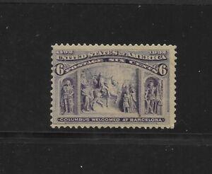 US Scott #235 mint never hinged 6c purple 1893 Columbian Expo Issue og f/vf