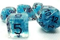RPG Würfel Set 7-teilig Poly DND Rollenspiel blau Tabletop dice4friends w4-w20