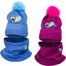 Disney Frozen 2 Piece Knitted Winter Set Beanie Hat and Snood 2-13 Cotton
