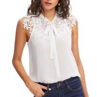Sexy Women Summer Lace Chiffon Sleeveless OL T-Shirt Blouse Ladies Top Tank Vest