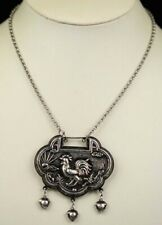 Tribal exotic chinese handmade miao silver longevity lock pendant:cock