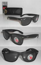 Authentic Ray-Ban RB 2132 NEW WAYFARER 622/58 52mm Matte Black / Green Polarized