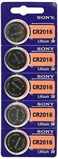Sony 5 Pcs CR2016 CR 2016 - 3V Lithium Button Cell Battery Batteries - NEW