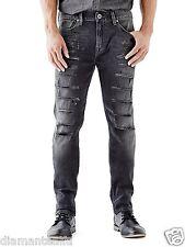 GUESS Men's Slim Tapered Jeans in Worn Black Destroy Wash sz 33