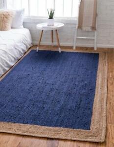 navy blue with beige border rectangular natural handmade braided area jute rug