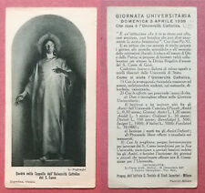 Santino Holy Card 1938: Gesù - Università Cattolica - Giornata Universitaria