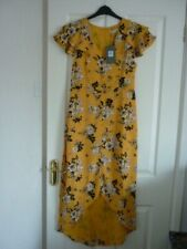 OASIS YELLOW MULTI FLORAL RUFFLE TRIM MIDI DRESS. UK 12 LONG, EUR 38-40, US 8 BN