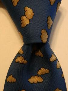 HERMES 7333 EA Men's 100% Silk Necktie FRANCE Luxury CLOUDS Blue/Tan/Black EUC