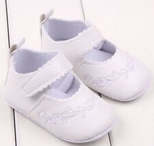 Newborn 0-3 M Infants Baby Girl Soft White Leather Crib Shoes Prewalker NWT
