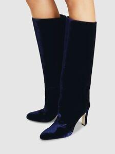 Marskinryyppy Women's Margar Velvet Knee High Boot Size 39 Navy, MSRP $850