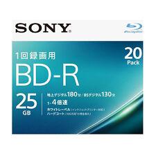 20 Sony Bluray Blank Disc BD-R 25GB 4x Single Layer Inkjet Printable Bluray Disc