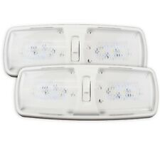 2 RV LED Slim  Double Dome Light Ceiling Fixture Camper Trailer Marine Motorhome
