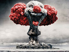 Clown Atomic Explosion funny poster print