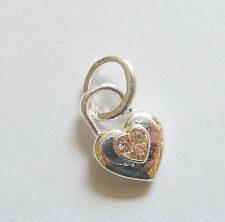 1 Metal Antique Silver Heart Link Charm - Antique Silver/Pink Rhinestone