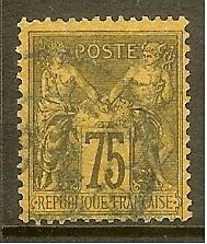 "FRANCE STAMP TIMBRE N° 99 "" TYPE SAGE 75c VIOLET SUR ORANGE "" OBLITERE TB"