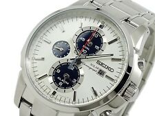 Seiko Mens Solar Chronograph Alarm Watch SSC083P1, Garanzia, Scatola, RRP:330