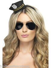 Ladies Mini Black Cop Police Hat With Badge Gold Braid On Headband Fancy Dress