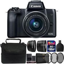 Canon EOS M50 Mirrorless Digital Camera + 15-45mm Lens Black 32GB Accessory Kit