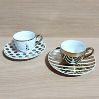 Bialetti Tazzine Da Caffe Two Person Coffee Cup Saucer Demitasse Set Gold/White