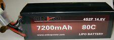 ONBO 7200mah 4s 80c Hard Case 14.8 Volt LiPo Battery XT90 Connector