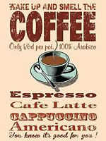 New 30x40cm Wake Up & Smell The Coffee retro large metal advertising wall sign