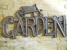 Cast Iron Garden Sign Wall Plaque Home Barn or Fence Decor Wheelbarrel Rustic