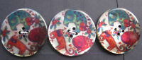 28mm Large Laurel Burch Style Printed Shell Cats Vintage Sewing Buttons Set of 3