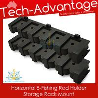 BRAND NEW 5-ROD HORIZONTAL FISHING ROD HOLDER STORAGE RACK - BOAT / GARAGE