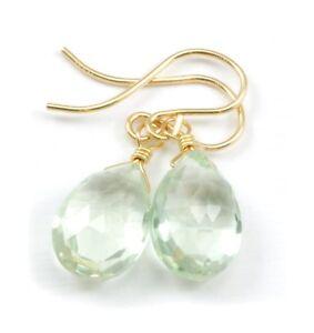 Prasiolite Green Amethyst Earrings Facet Pear Teardrops Soft Dangle 14k Sterling