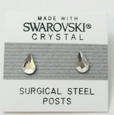 8mm Small Silver Crystal TEARDROP Stud Earrings Made with SWAROVSKI ELEMENTS