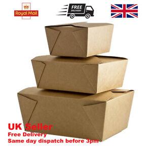 Kraft Leakproof Greaseproof Cardboard Boxes Various Sizes Takeaway Disposable