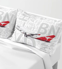 Qantas Boeing 747 with Airport Codes - Standard Set of Pillow Shams