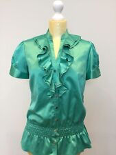 Star By Julien MacDonald - Vibrant Frilly Blouse - Green - UK Size 12 - Euro 40