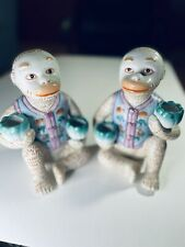 New ListingChinoiserie Chinese Porcelain Monkey Candlestick Holders Whimsical See Pics Read