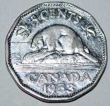 Canada 1953 5 cents SF Near Five Cents Canadian Nickel  Shoulder Fold Near
