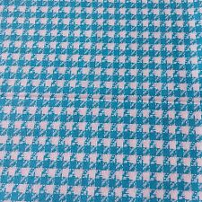 Vintage Cotton Check Aqua Blue Fabric Remnants Sewing Craft 75x90cm NOS