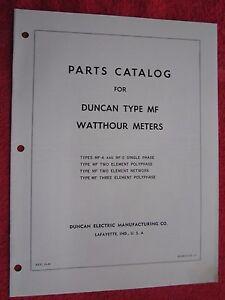1948 DUNCAN MF TYPE WATTHOUR METER PARTS CATALOG