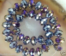 500PCS 4*6MM AB Violet Multicolor Crystal Faceted Gems Loose Beads