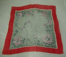Women's Scarf Floral Sheer Soft Dainty Silk Gray Red Pink