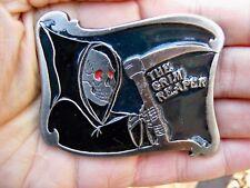 Vtg GRIM REAPER Belt Buckle ART Death HOOD Enamel RARE VG++