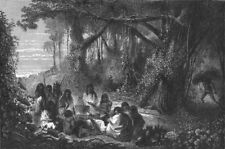 BRAZIL. Upper Amazons Indians dining 1880 old antique vintage print picture