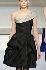 New sz 4 - 6 Oscar de la Renta F'09 silk dress black princess one shoulder